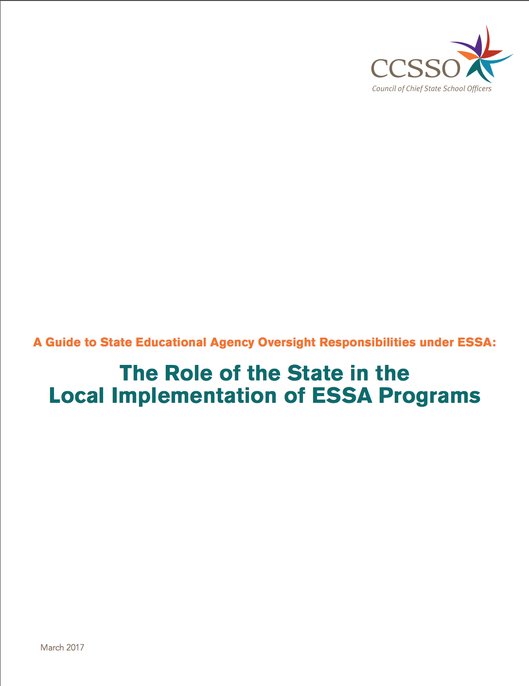 The Role of the State in the Local Implementation of ESSA Programs title page