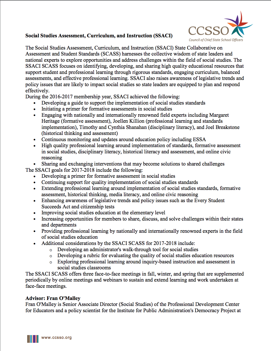 Social Studies Assessment, Curriculum, and Instruction page 1