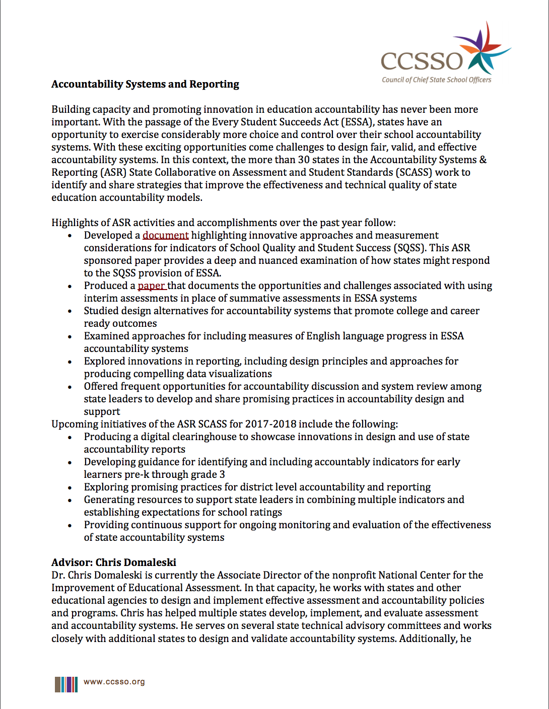 Accountability Systems and Reporting page 1