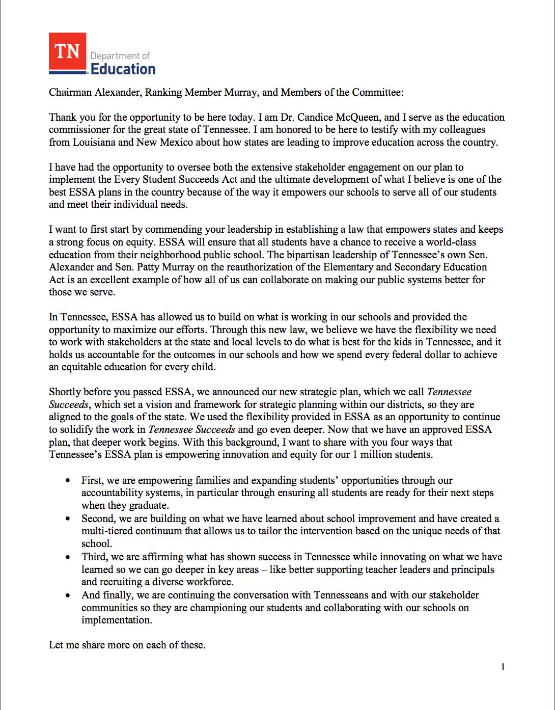 Commissioner McQueen ESSA Testimony page 1
