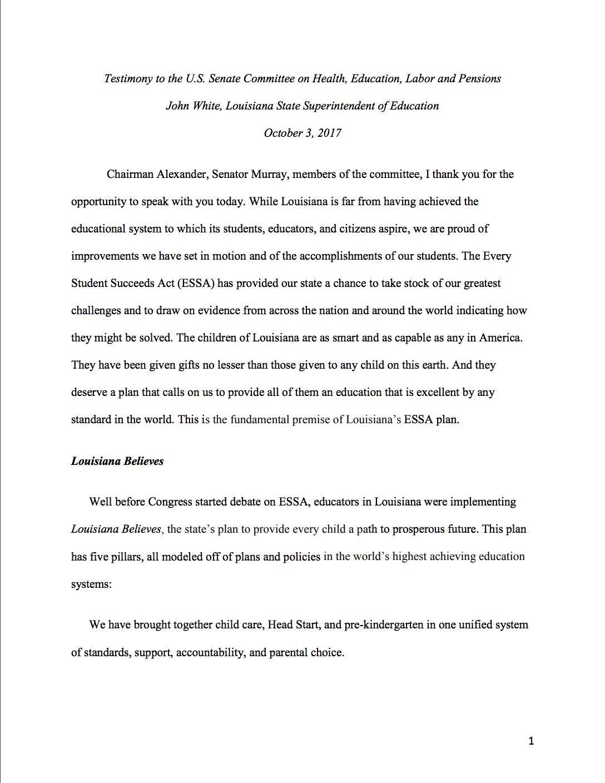 John White HELP Testimony page 1
