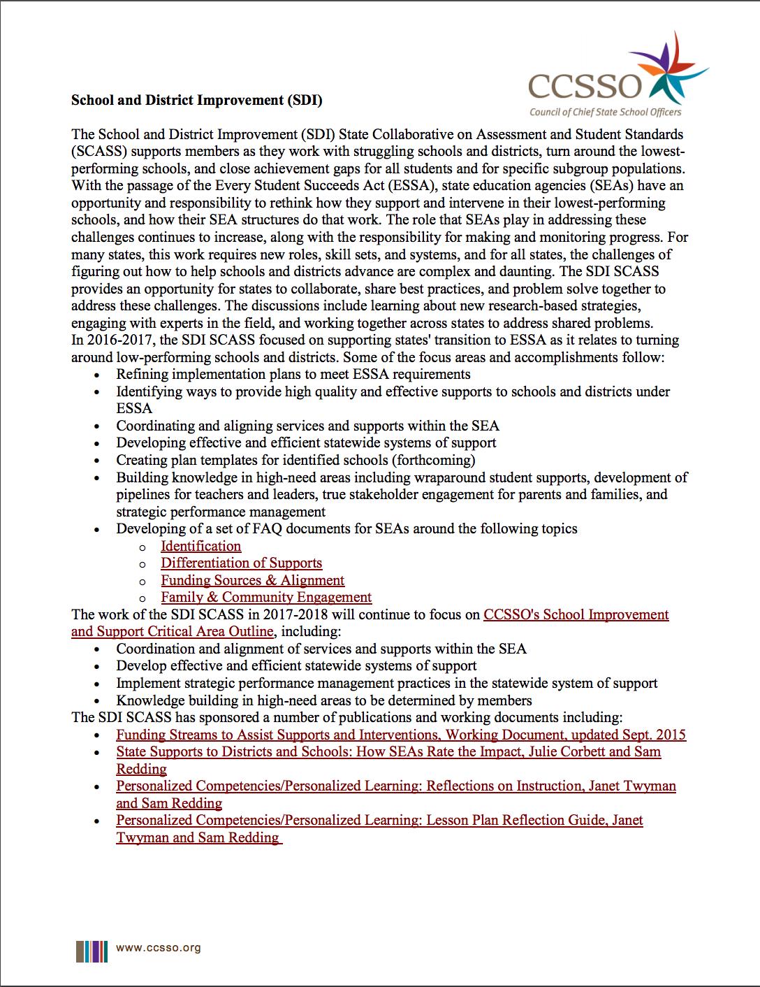 School and District Improvement Description document page 1