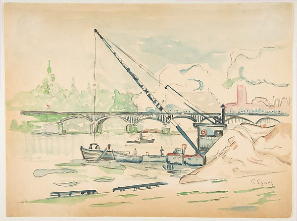 illustration of a water scene with a bridge and boats