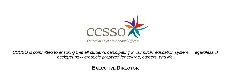 CCSSO Executive Director and Logo