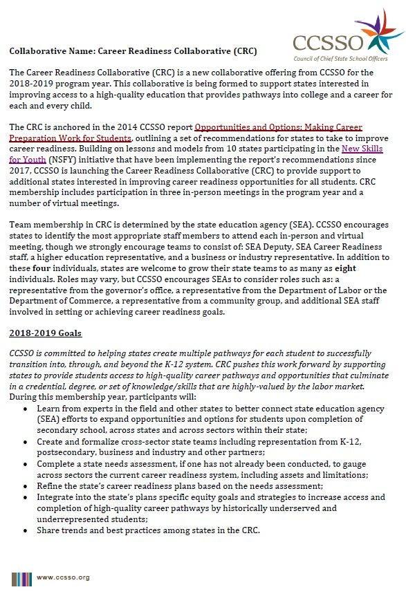 2018-2019 CRC Membership Information