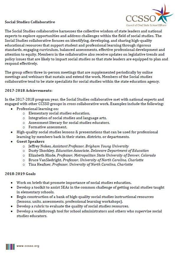 Social Studies 2018-2019 Membership Information