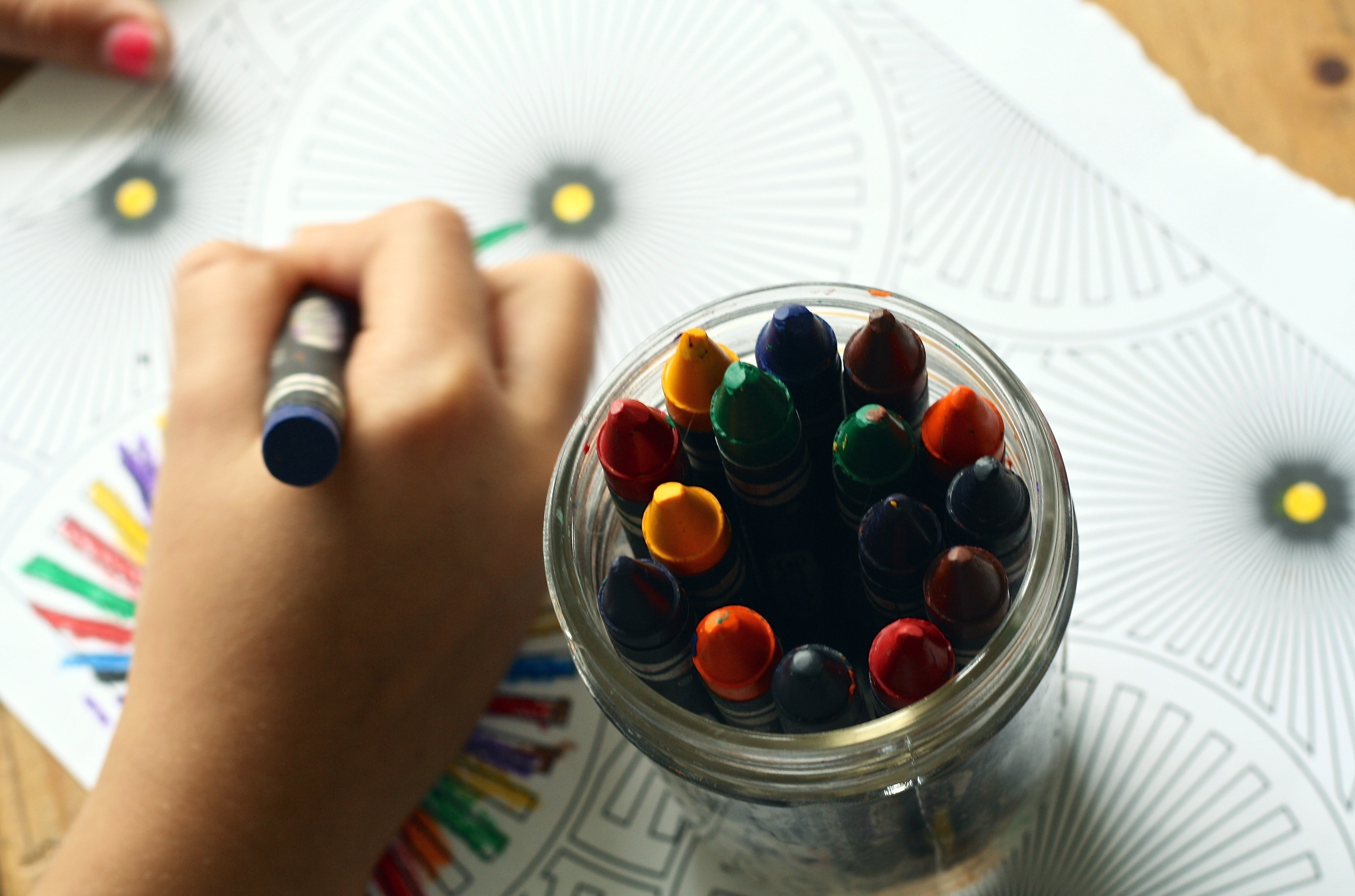 image of student coloring