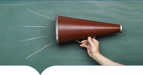 Image of megaphone on chalkboard